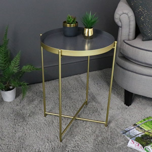 Grey & Gold Folding Metal Occasional Table