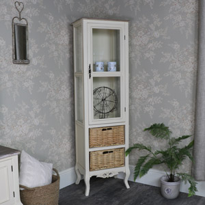 Tall Cream Glazed Display Cabinet with Basket Storage - Georgette Range