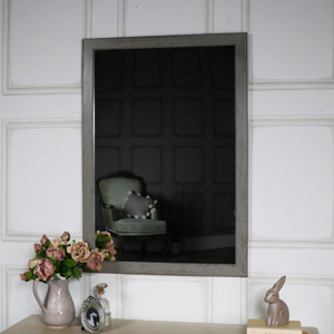 Large Grey Washed Wall Mirror 69cm x 99cm