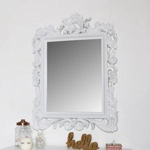 Large Ornate White Wall Mirror 58cm x 78cm