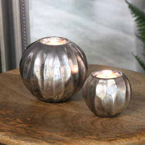Metallic Silver Tealight Holders