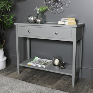Grey Console Table with Shelf