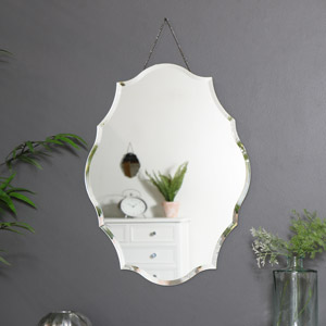 Ornate Frameless Bevelled Wall Mirror
