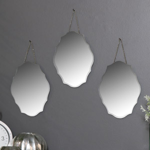 Set of 3 Ornate Frameless Wall Mirrors