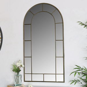 Large Arched Metal Window Mirror 55cm x 107cm