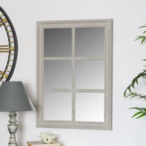 Rustic Grey Window Style Wall Mirror 49cm x 50cm