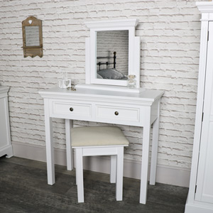 White Dressing Table, Mirror and Stool Set - Daventry White Range