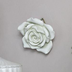 Ornate White Rose Wall Art