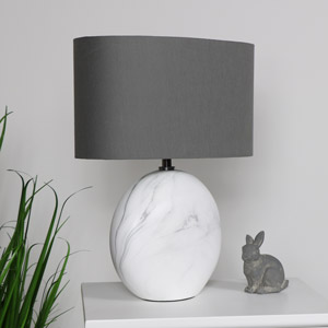 White Marble Table Lamp with Grey Shade