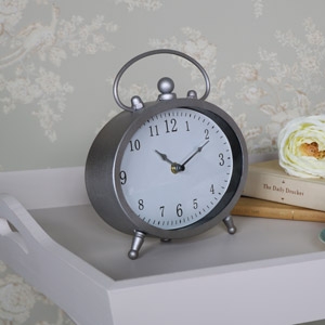 Vintage Silver Oval Mantel Clock