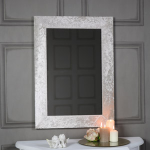 Large Pearl White Crushed Velvet Framed Wall Mirror 50cm x 70cm