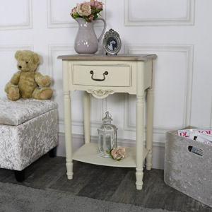 Antoinette Range - Cream One Drawer Bedside Table with Shelf