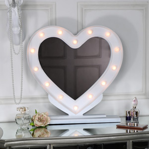 Large White Heart LED Light Up Vanity Mirror