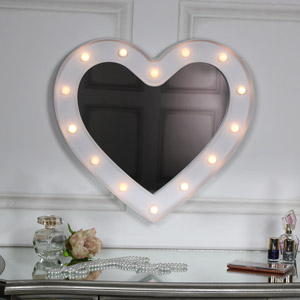 Large White Heart LED Light Up Wall Mirror