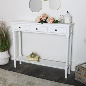 White Console Table with Shelf
