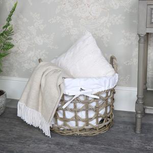 Rustic Rattan Laundry Storage Basket