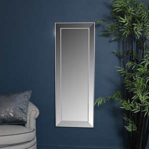 Tall Silver Frame Wall / Floor / Leaner Mirror 45cm x 121cm