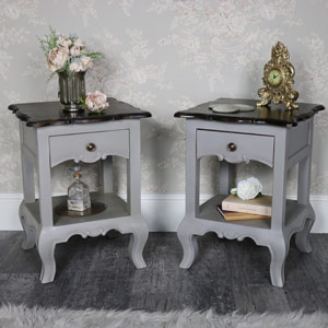 Pair of Vintage Grey Bedside Lamp Table - Leadbury Range
