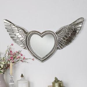 Silver Angel Wing Wall Mirror