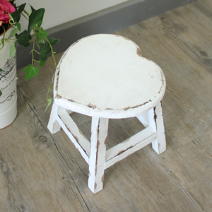 Small White Wooden Heart Stool