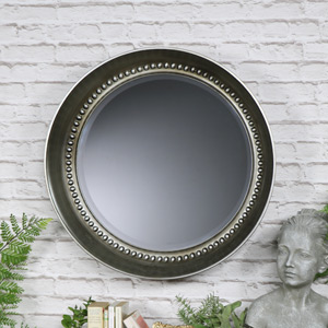 Large Antique Silver Beaded Circle Wall Mirror