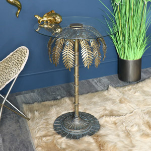 Gold Palm Tree Side Table