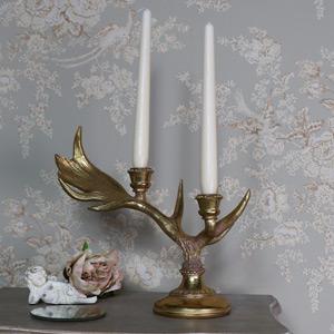 Ornate Gold Stag Antler Candlestick