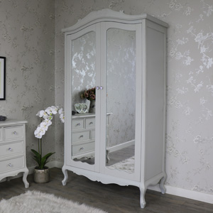 Elise Grey Range - Double Armoir Mirrored Wardrobe