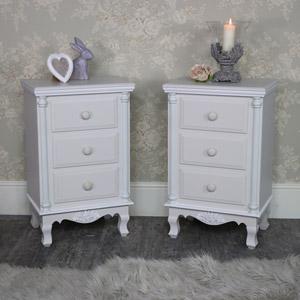 Claudette Range - Bedroom Set, Pair Grey 3 Drawer Bedside Chests