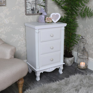 Claudette Range - Grey 3 Drawer Bedside Chest