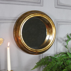 Vintage Antique Gold Round Wall Mirror 37cm x 37cm