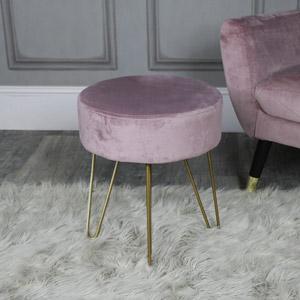 Dusky Pink Velvet Stool