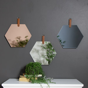 Set of 3 Frameless Hexagon Wall Mirrors