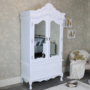 Rose Range - White Mirrored Double Wardrobe