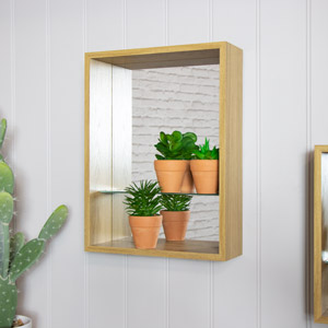 Natural Wood Mirrored Back Display Shelf 31cm x 41cm