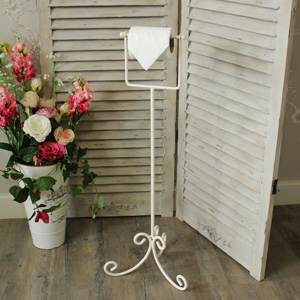 Cream Floor standing Toilet Roll Holder