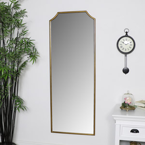 Tall Gold Arched Wall Mirror 52cm x 138cm