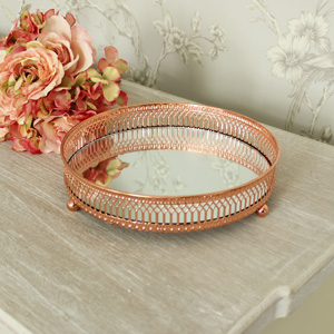 Ornate Copper Mirrored Tray 20cm x 20cm