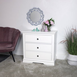 White 3 Drawer Chest of Drawers - Newbury White Range