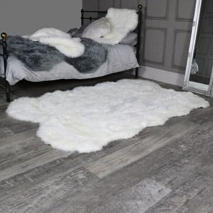 Large Four Pelt White Faux Fur Rug 130cm x 200cm