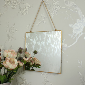 Gold Edged Square Wall Mirror