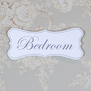 White Wooden 'Bedroom' Door Plaque