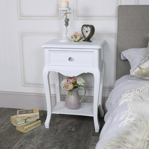 Ornate White 1 Drawer Bedside Lamp Table - Elise White