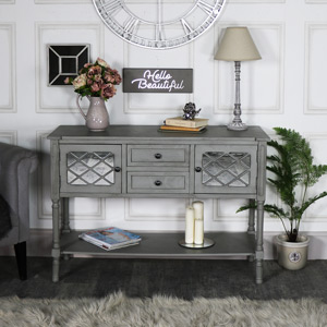 Large Grey Mirrored Sideboard Storage - Vienna Range