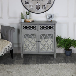 Grey Mirrored Cupboard Storage