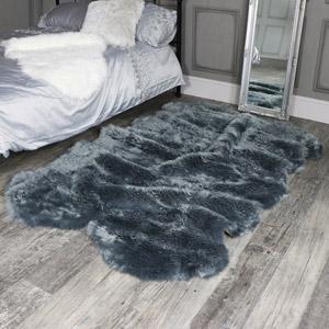 Large Four Pelt Grey Faux Fur Rug 130cm x 200cm