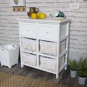 White Storage Unit - 4 Baskets/2 Drawers