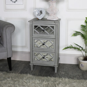 Grey Mirrored Bedside/Lamp Table
