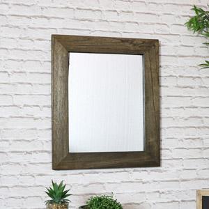 Rustic Wooden Wall Mirror 53cm x 63cm