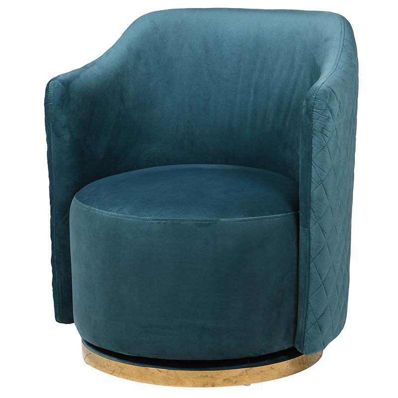 Blue Velvet Swivel Chair